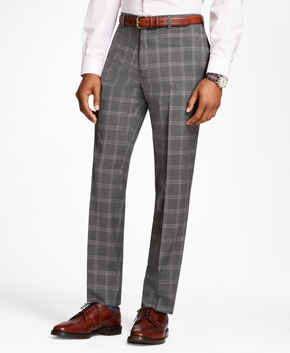Plaid Wool Suit Trousers Grey