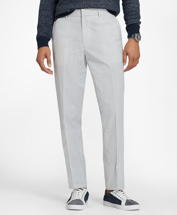 Cotton Seersucker Trousers Grey