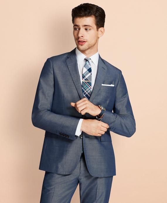 Cotton-Mohair Two-Button Suit Jacket Blue