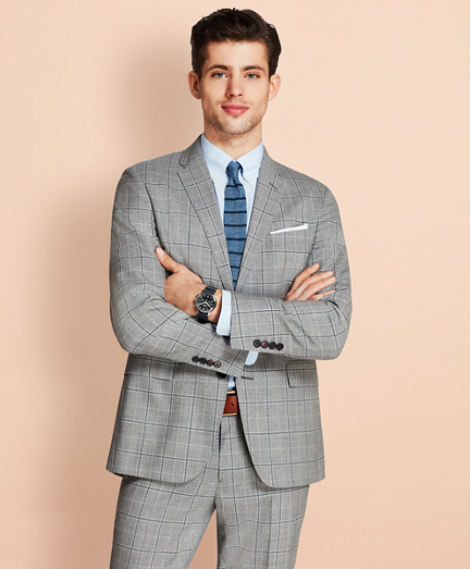 Windowpane Two-Button Wool Suit Jacket