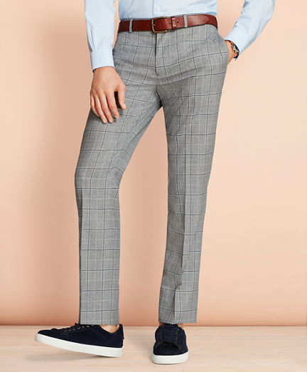 Windowpane Wool Suit Trousers