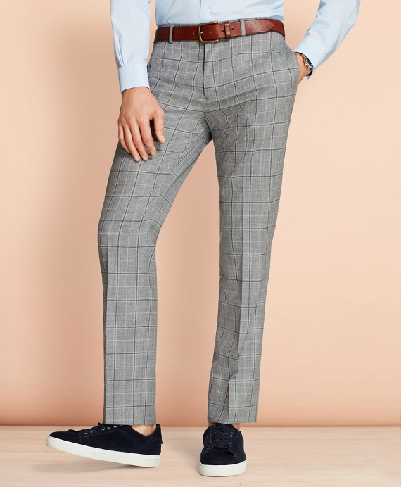 Windowpane Wool Suit Trousers Grey