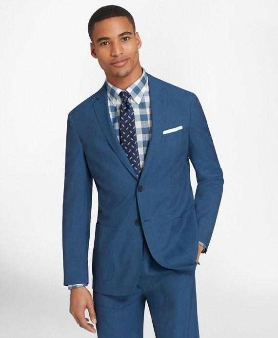 Wool Two-Button Unlined Suit Jacket Blue