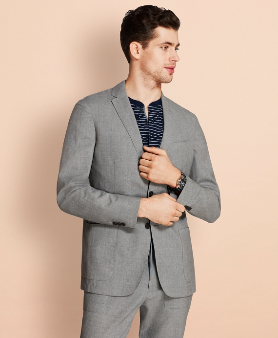 Wool Two-Button Unlined Suit Jacket Grey