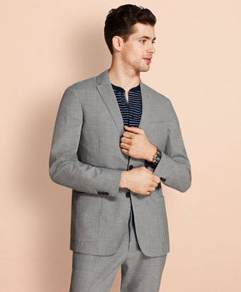 Wool Two-Button Unlined Suit Jacket