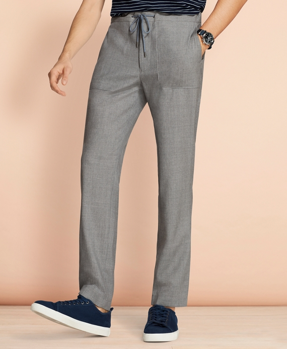 Wool Drawstring Suit Trousers Grey