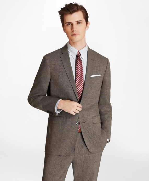 Multi-Check Two-Button Wool Suit Jacket Grey