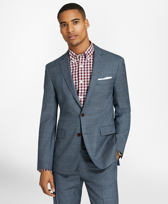 Brooks Brothers Blue Windowpane Two-Button Wool Twill Suit Jacket