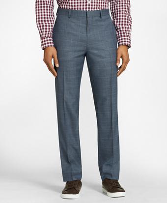 Windowpane Wool Twill Suit Trousers