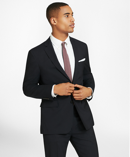 Two-Button Pinstripe Wool Suit Jacket