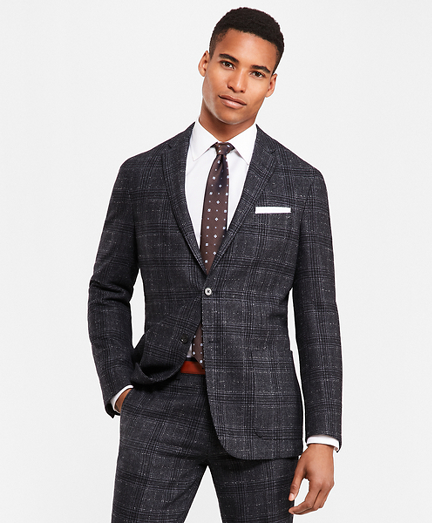 Plaid Two-Button Twill Suit Jacket