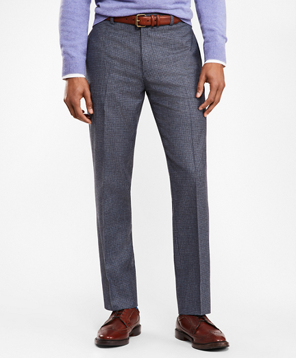 Houndscheck Wool Twill Suit Trousers