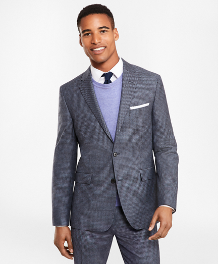 Two-Button Houndscheck Wool Twill Suit Jacket