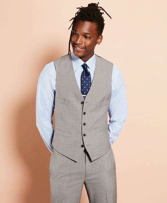 Wool Five-Button Suit Vest Grey