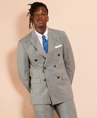 Windowpane Wool-Blend Double-Breasted Suit