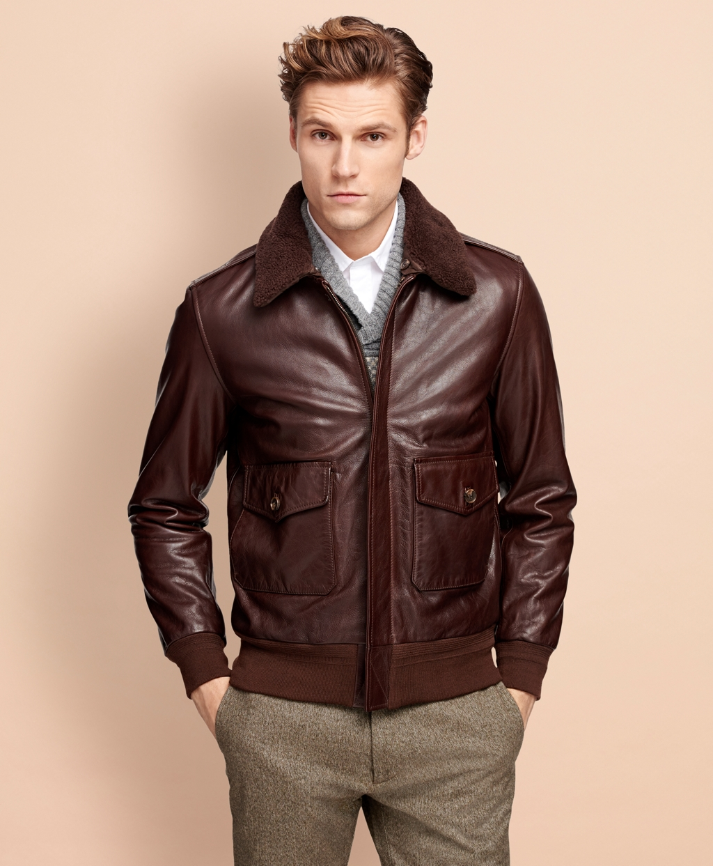 5e21ad56c Men's Brown Leather Bomber Jacket | Brooks Brothers