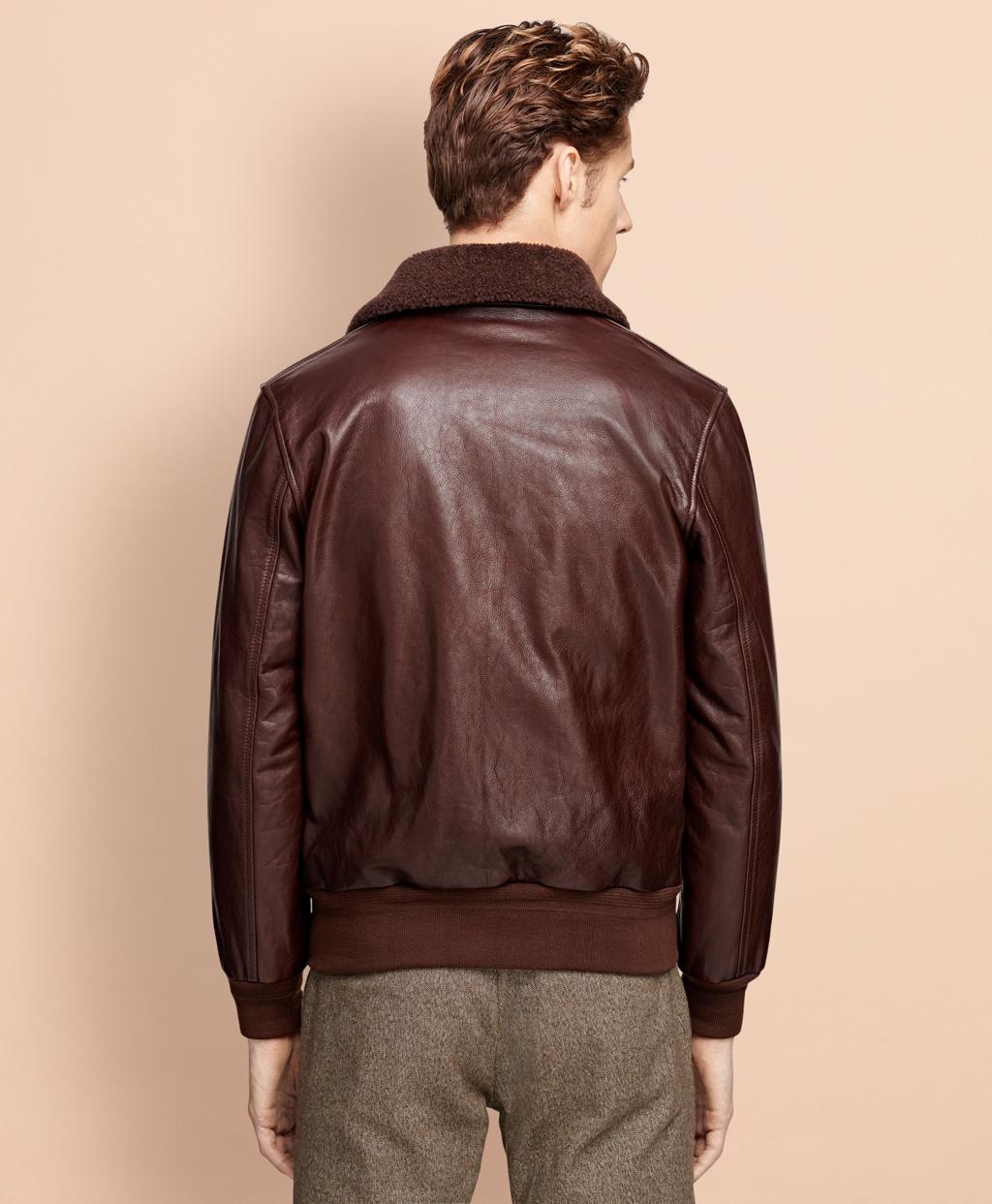 eb55b1e5c84 Men s Brown Leather Bomber Jacket