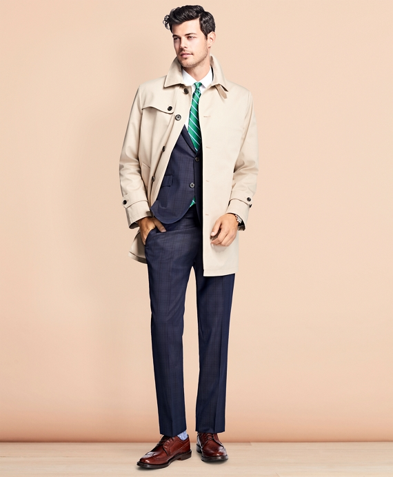 Water-Resistant Single-Breasted Trench Coat Khaki