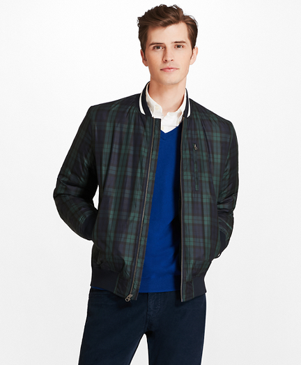 Black Watch Plaid Bomber Jacket