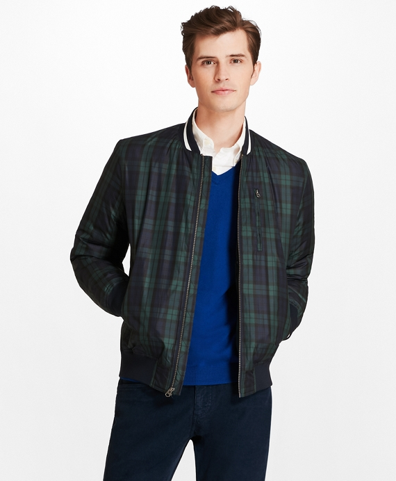 Black Watch Plaid Bomber Jacket Navy-Green