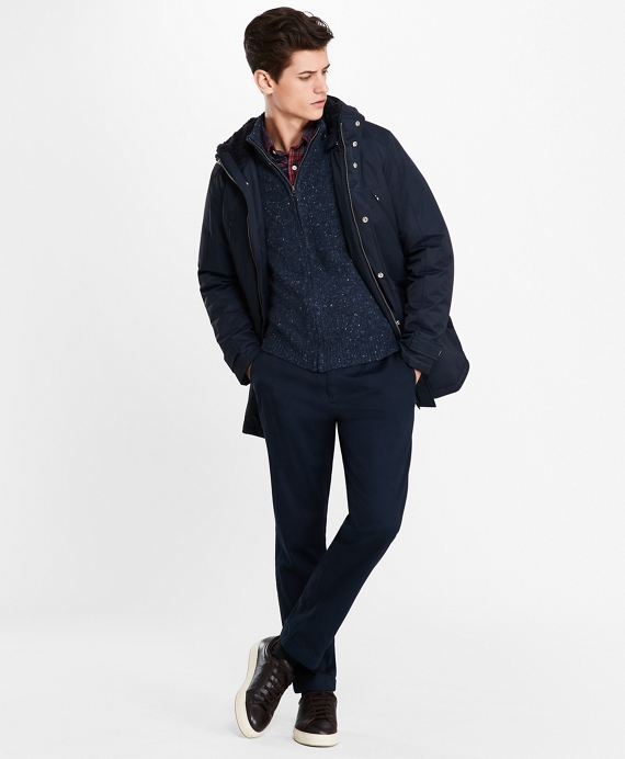 Sherpa-Lined Water-Repellent Parka Navy