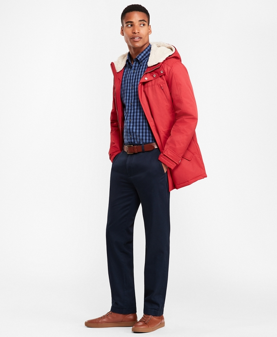 Sherpa-Lined Water-Repellent Parka Red