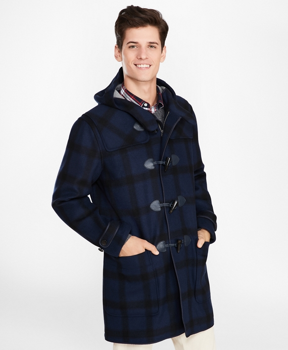 Double-Faced Wool-Blend Plaid Duffle Coat Blue-Navy