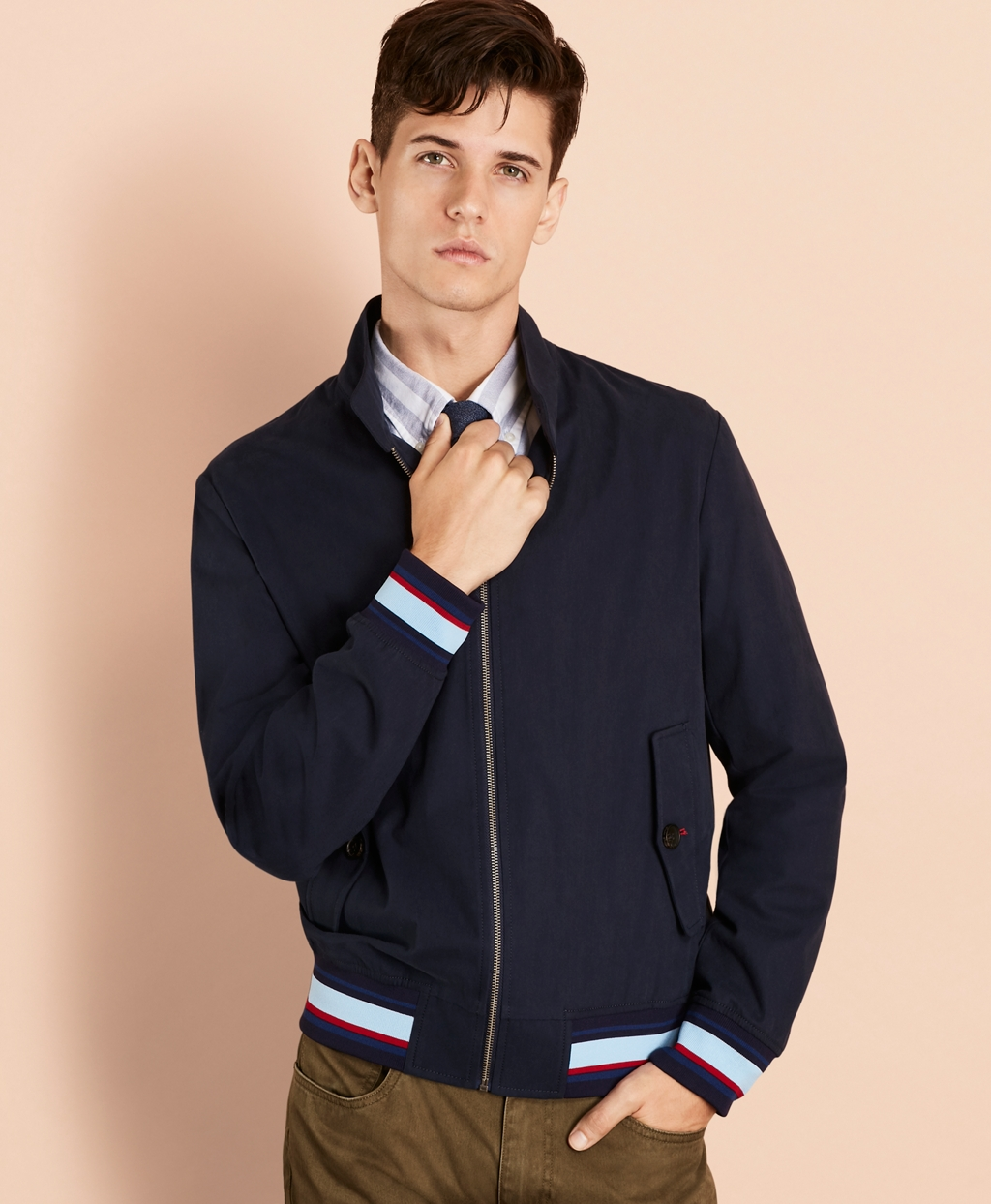 Men's Vintage Style Coats and Jackets Brooks Brothers Mens Water-Resistant Harrington Jacket $111.00 AT vintagedancer.com