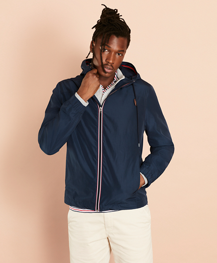 Water-Repellent Hooded Windbreaker