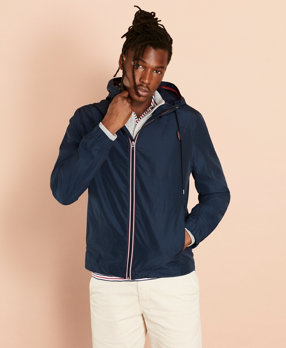 Water-Repellent Hooded Windbreaker Navy