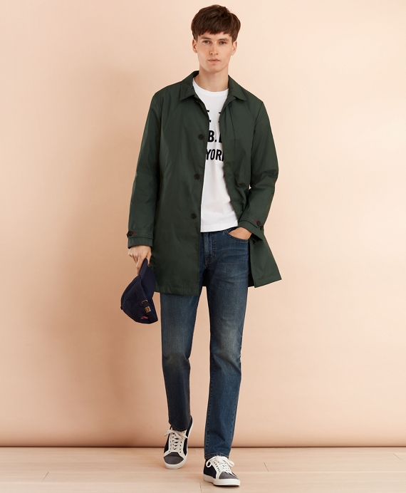Water-Repellent Packable Trench Coat Dark Green