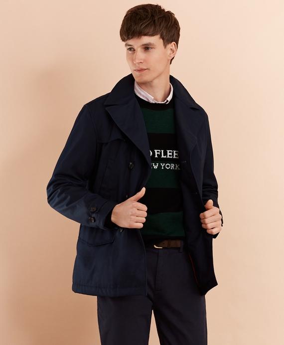Lightweight Cotton Twill Peacoat, Black Cotton Pea Coat