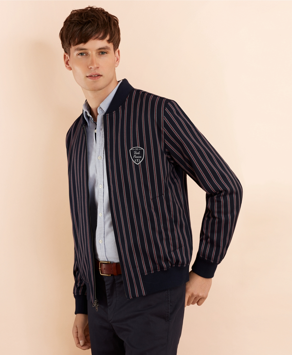 Men's Vintage Style Coats and Jackets Brooks Brothers Mens Striped Bomber Jacket $171.00 AT vintagedancer.com