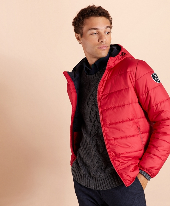 Quilted Hooded Puffer Jacket Red