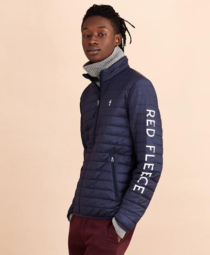 Water-Resistant Red Fleece Puffer Jacket