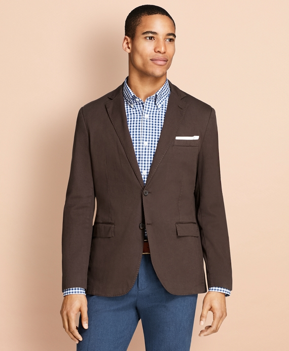 Garment-Dyed Stretch Cotton Dobby Sport Coat Brown