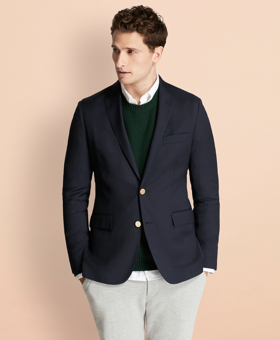 Stretch Wool Twill Blazer Navy