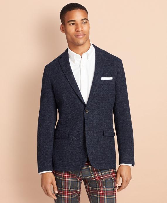 Textured Wool Tweed Sport Coat Blue