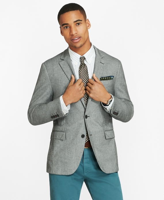 Herringbone Two-Button Sport Coat Black