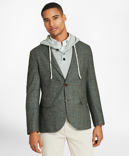 Windowpane Two-Button Wool-Blend Sport Coat