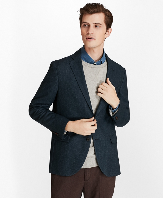 Two-Button Wool-Blend Herringbone Sport Coat Blue