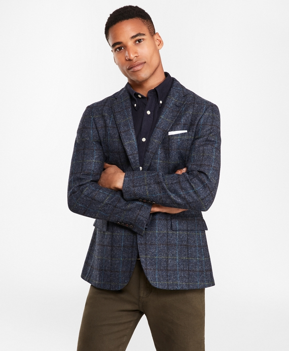 Two Button Blue Windowpane Wool Sport Coat by Brooks Brothers
