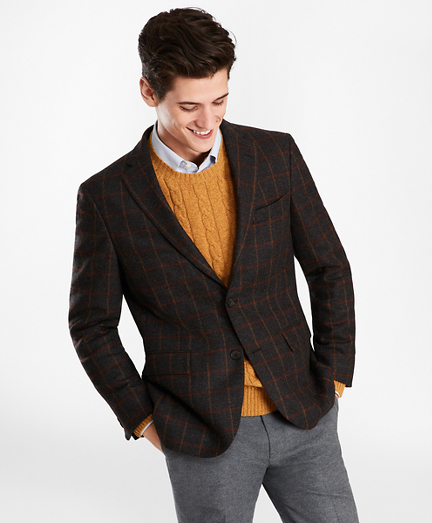 Two-Button Brown Windowpane Wool Twill Sport Coat