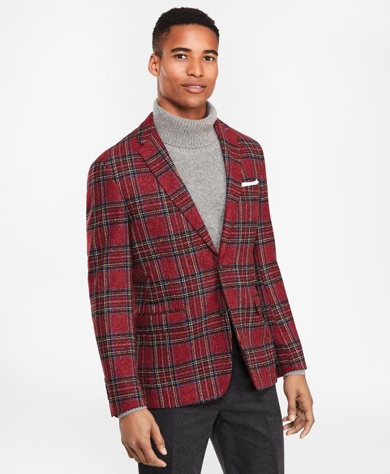 Wool-Blend Two-Button Tartan Sport Coat Red