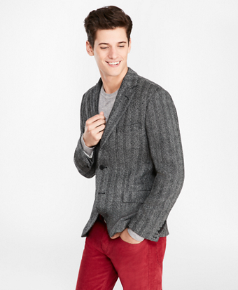 Three-Button Wool Herringbone Sport Coat