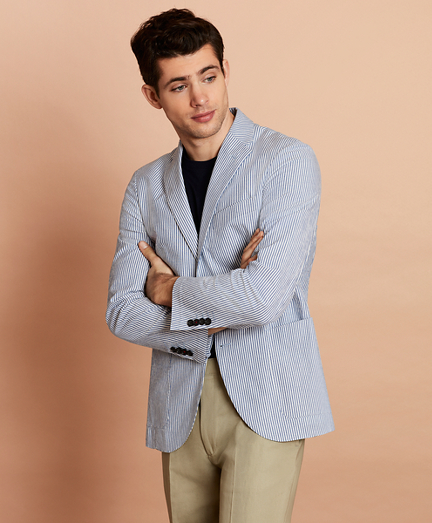 Striped Seersucker Two-Button Sport Coat