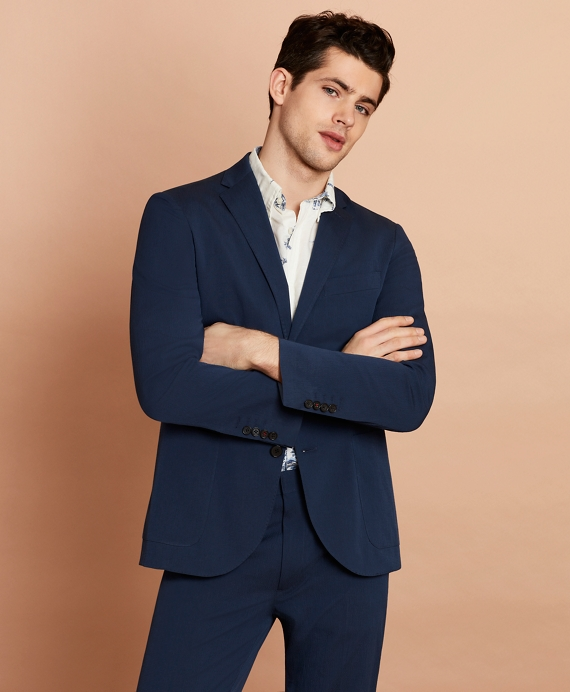 Seersucker Two-Button Sport Coat Navy