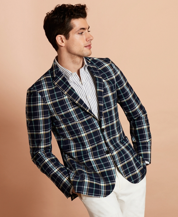 Madras Cotton Two-Button Sport Coat Navy