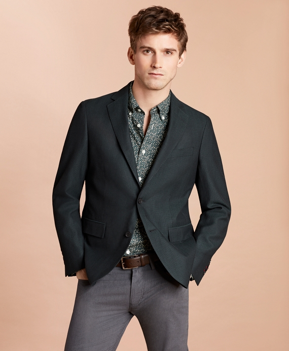 Wool-Blend Dobby Sport Coat Dark Green