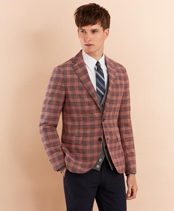 Plaid Cotton-Blend Dobby Sport Coat Pink